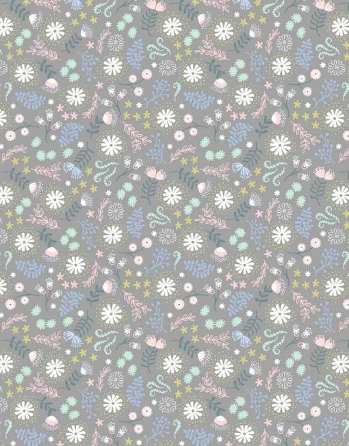 Lewis and Irene Fairy Lights - Magical Flowers on Grey - Felt Backed Fabric