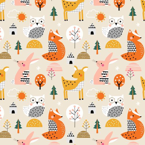 Geo Forest by Dashwood Studio - Animals - Felt Backed Fabric