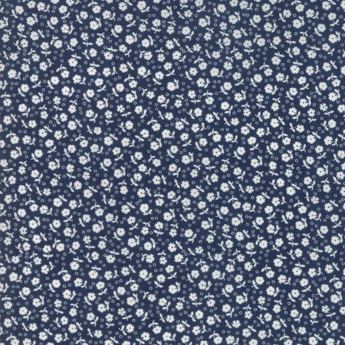 Moda Fabrics - Guest Room - Flowers and Dots Midnight Navy