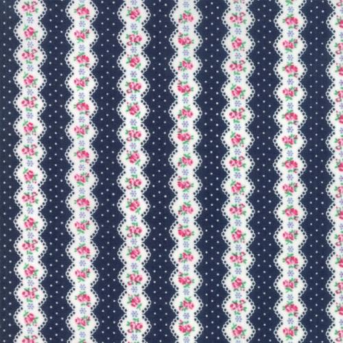 Moda Fabrics - Guest Room - Stripe Midnight Navy