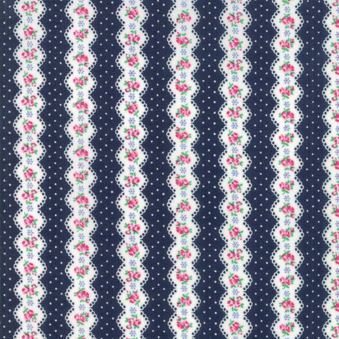 Moda Fabrics - Guest Room - Stripe Midnight Navy