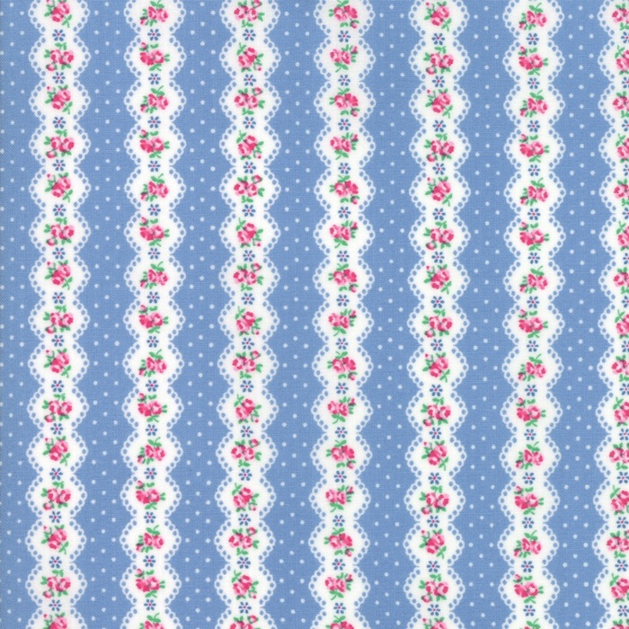 Guest Room by Moda Fabrics  - Stripe Sky - Felt Backed Fabric