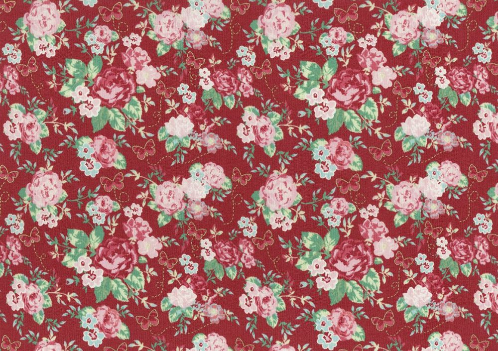 Lecien Woodland Rose - Butterfly Rose Garden (Metallic) - Felt Backed Fabri