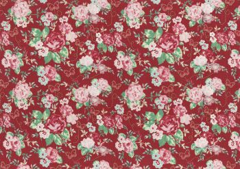 Lecien Woodland Rose - Butterfly Rose Garden (Metallic) - Felt Backed Fabric