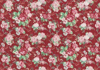 Lecien Woodland Rose - Butterfly Rose Garden (Metallic) - Felt Backed Fabric