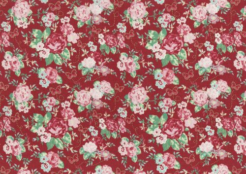 Lecien Woodland Rose - Butterfly Rose Garden (Metallic) - Felt Backed Fabri