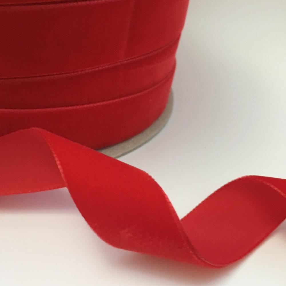 22mm Velvet Ribbon - Red