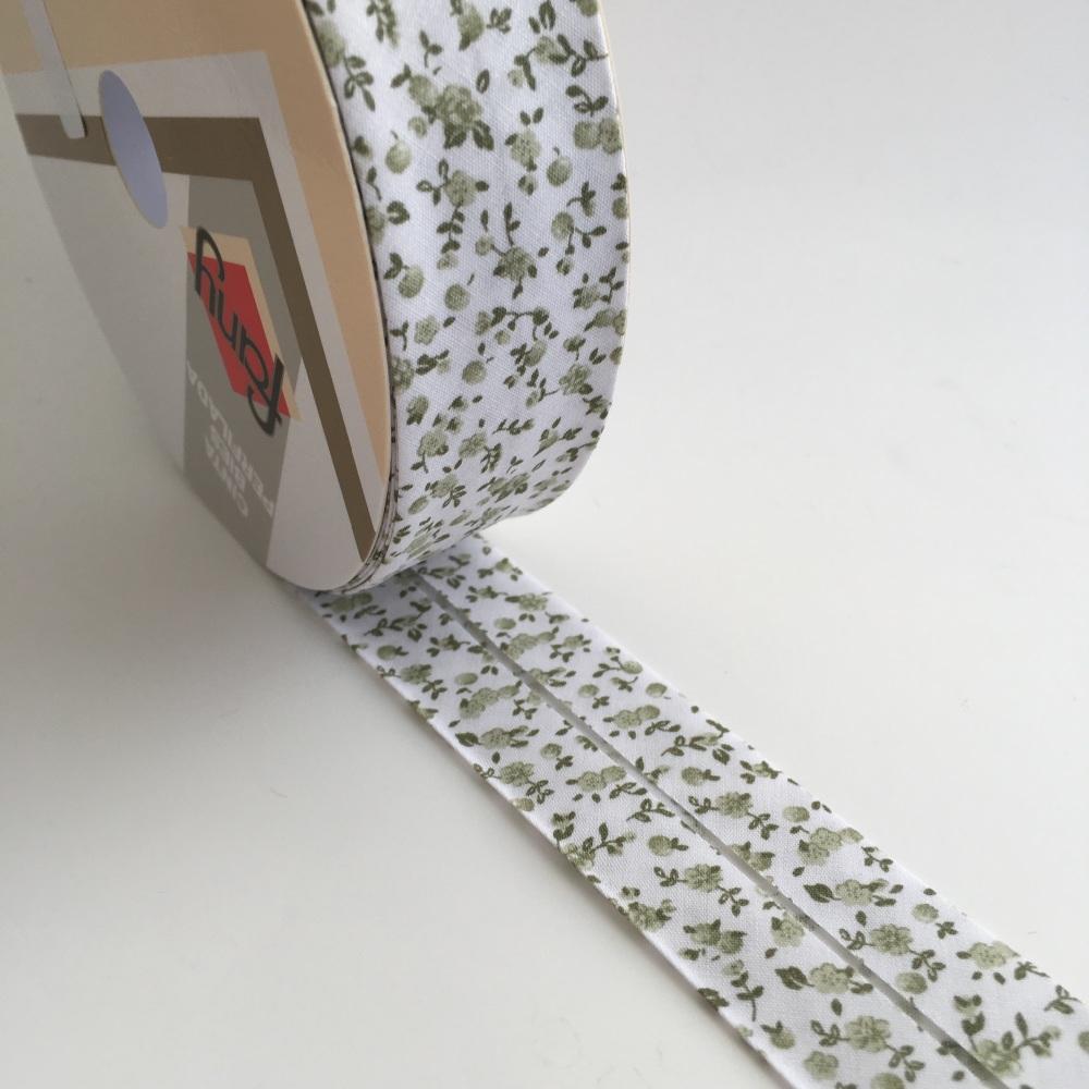 30mm Floral Bias Binding - Sage Toile