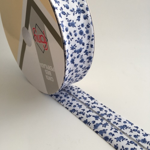 30mm Floral Bias Binding - Blue Toile
