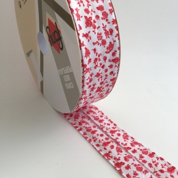 30mm Floral Bias Binding - Red Toile