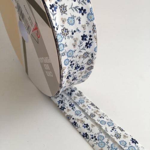 30mm Floral Bias Binding - Blue, Grey and Natural