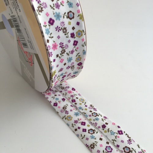 30mm Floral Bias Binding - Purple, Aqua and Olive