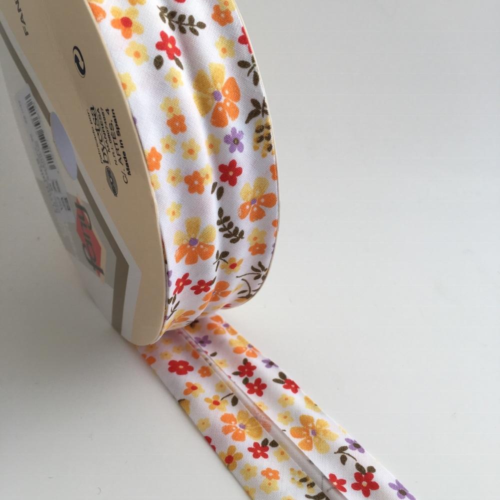 30mm Floral Bias Binding - Orange and Yellow