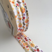 30mm Floral Bias Binding - Orange and Yellow
