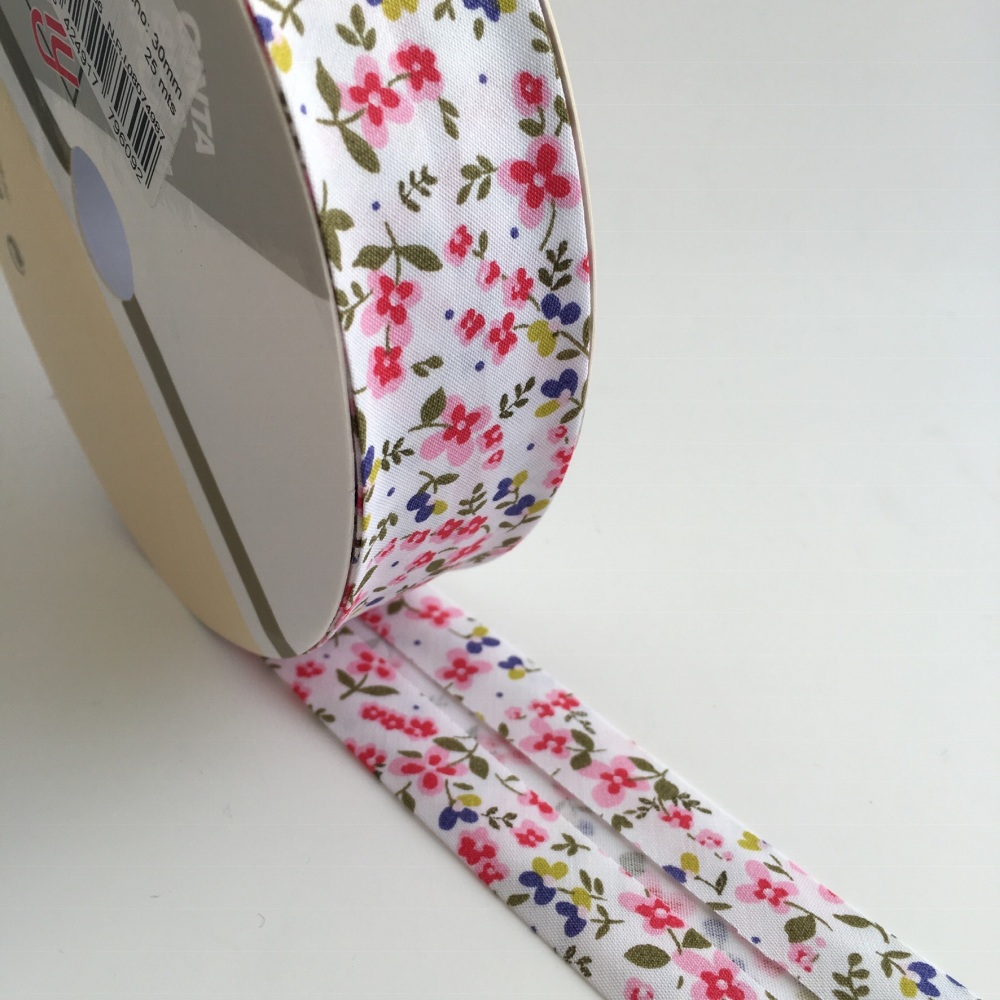 30mm Floral Bias Binding - Pink and Lupin