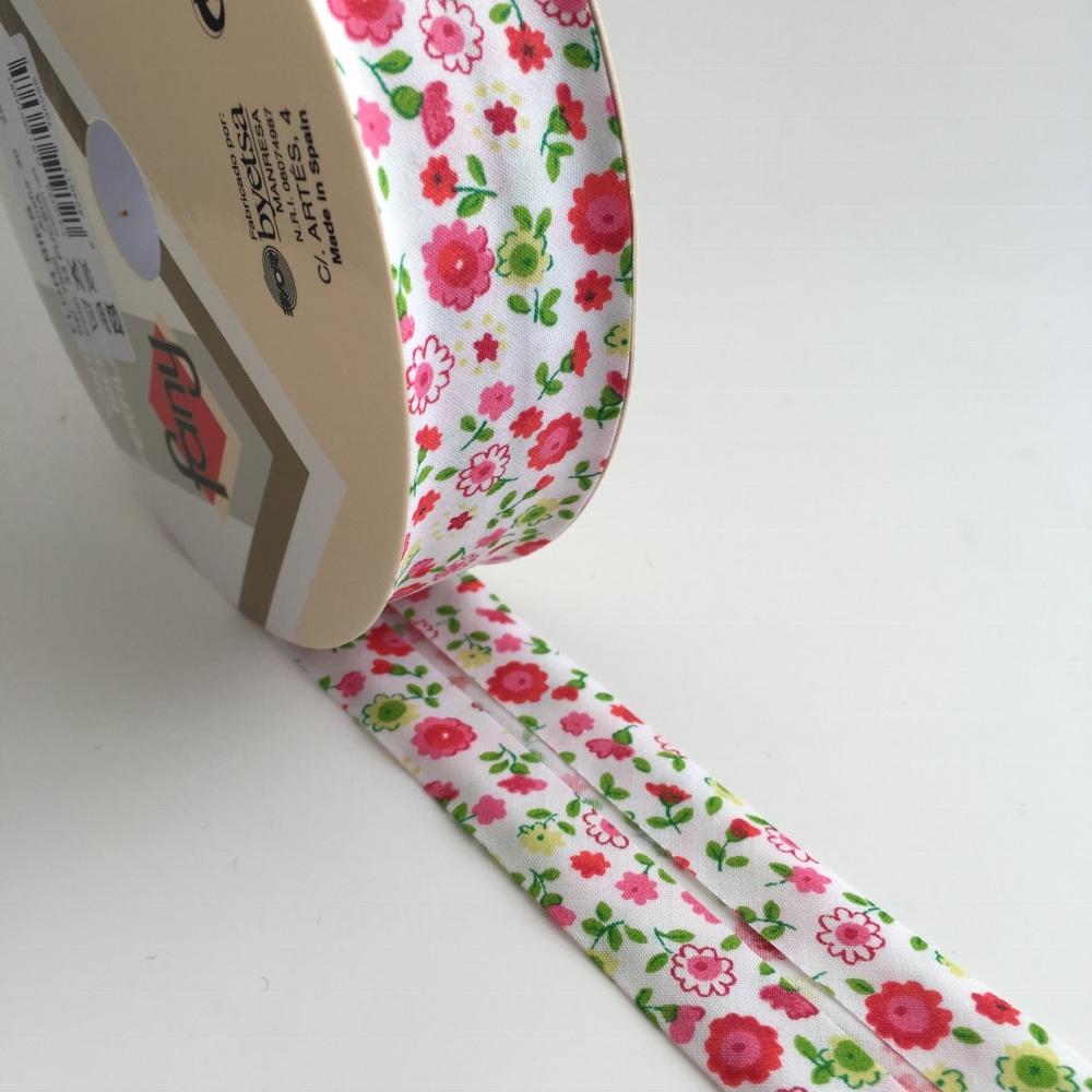 30mm Floral Bias Binding - Fuchsia