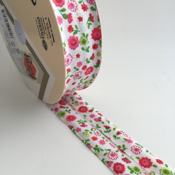 30mm Floral Bias Binding - Fuchsia