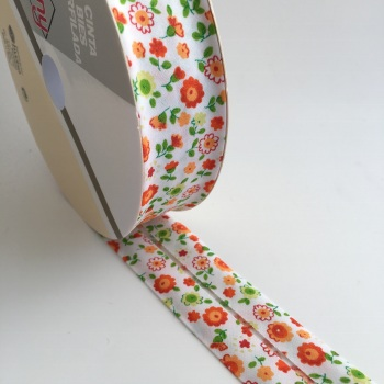 30mm Floral Bias Binding - Orange