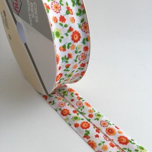 30mm Floral Bias Binding - Orange