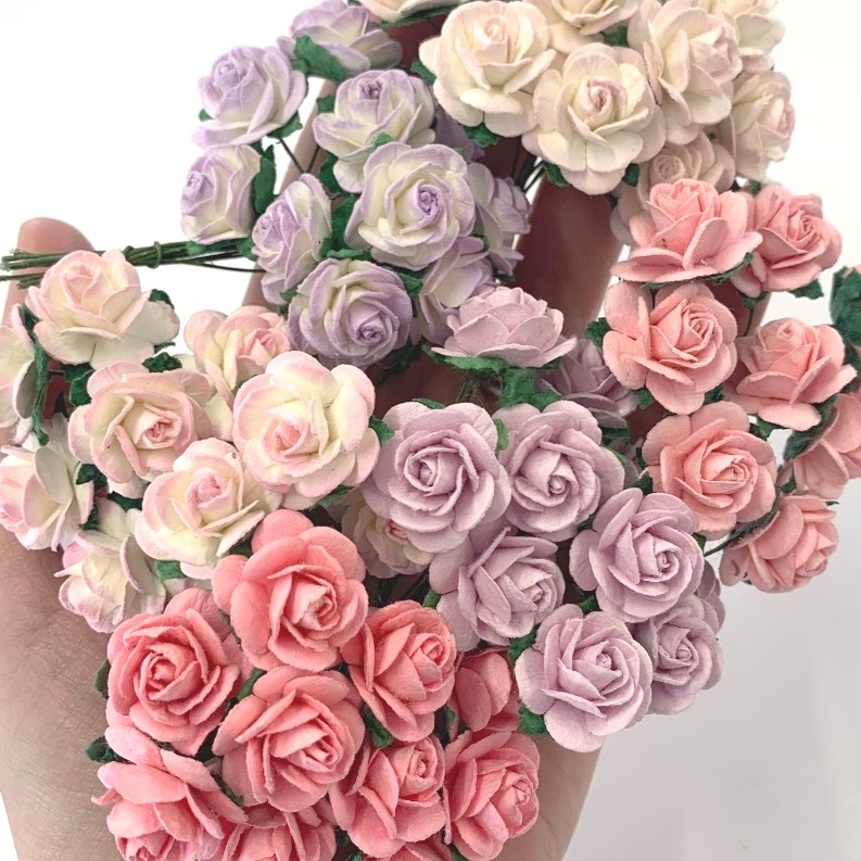 <!--001-->Mulberry Paper Open Roses 10mm 15mm 20mm