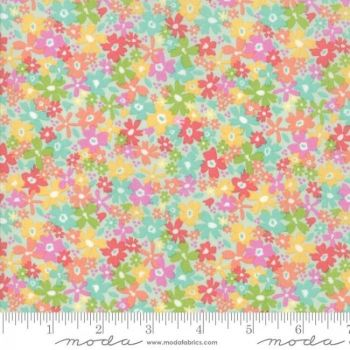Sunnyside Up! by Moda Fabrics  - Floral Charming Aqua - Felt Backed Fabric