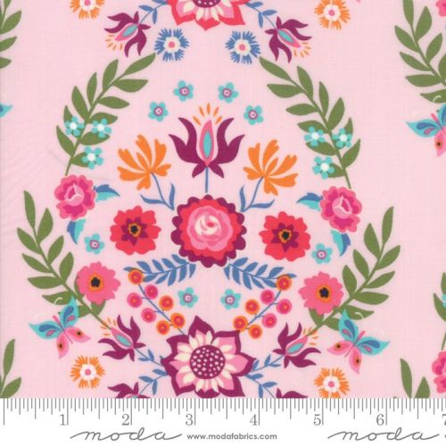Moda Fabrics - Rosa - Butterfly Floral Pink
