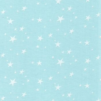 Chambray Stars - White on Aqua