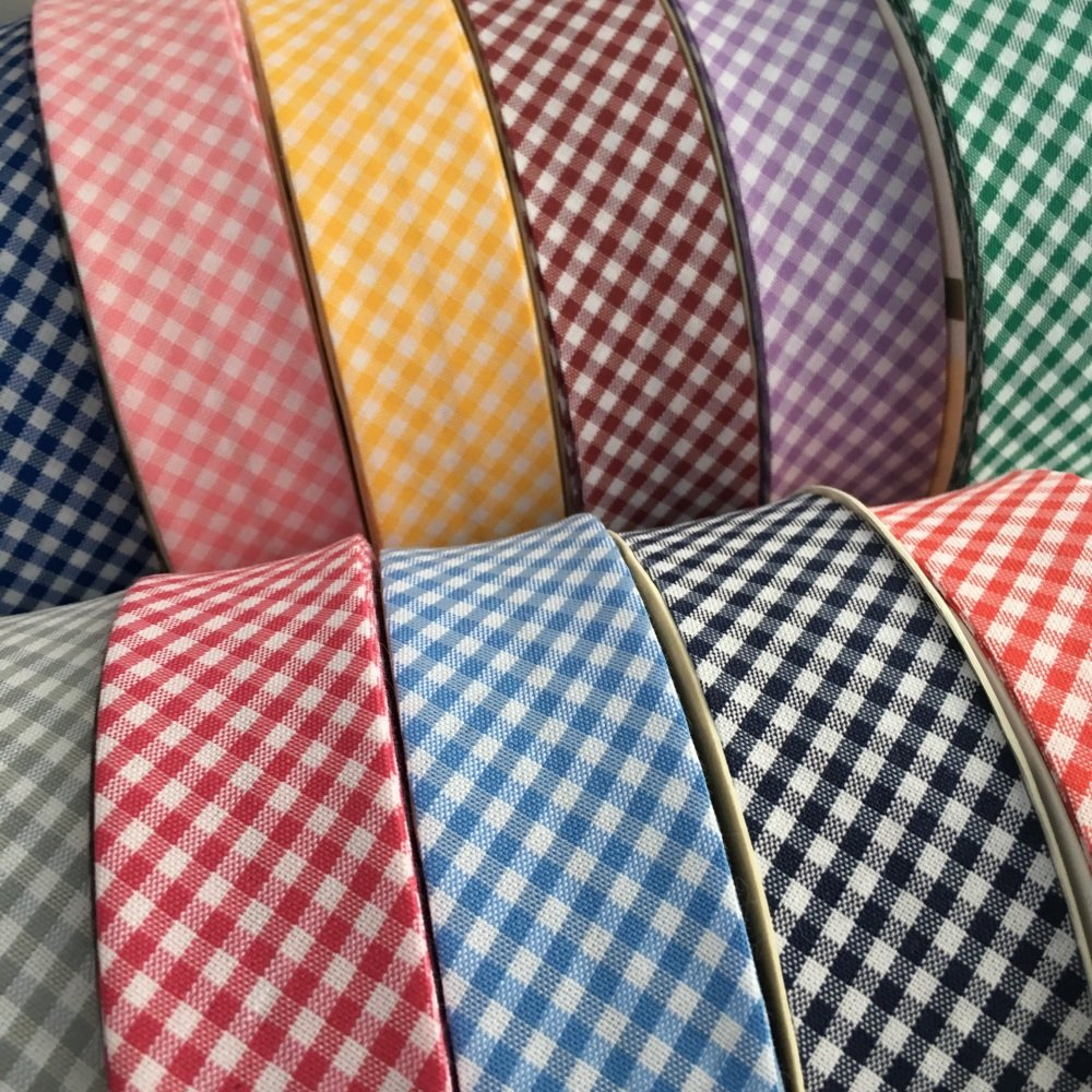 30mm Polycotton Gingham Bias Binding