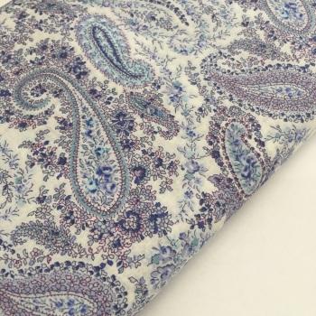 Lecien Mémoire à Paris 2019 - Blue and Lavender Paisley - Felt Backed Fabric