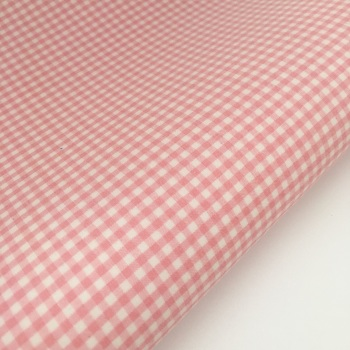 "100% Yarn Dyed Cotton 1/8"" Gingham - Baby Pink"