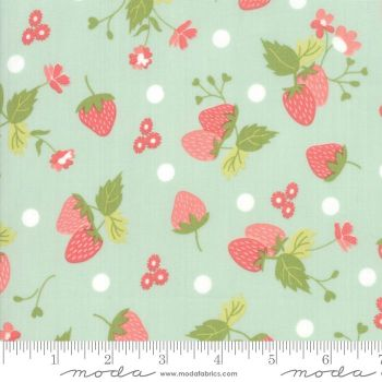 Strawberry Jam by Moda Fabrics  - Strawberries Polka Dot Aqua - Felt Backed Fabric
