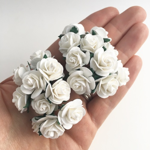 Mulberry Paper Open Roses - White 10mm 15mm 20mm