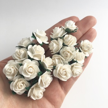 Mulberry Paper Open Roses - Ivory 10mm 15mm 20mm