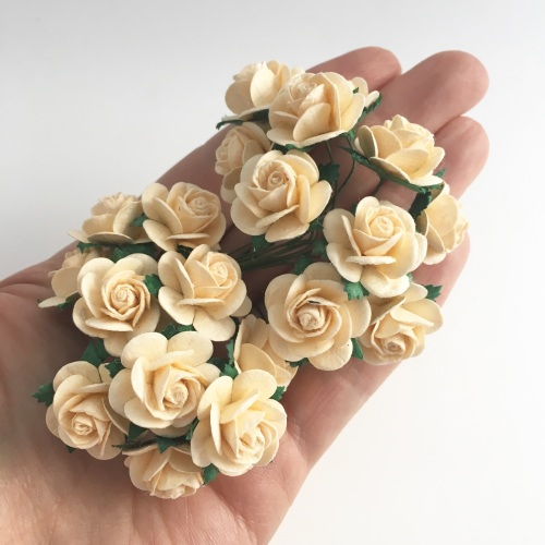 Mulberry Paper Open Roses - Deep Ivory 10mm 15mm 20mm