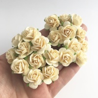 <!--004--> Mulberry Paper Open Roses - Cream 10mm 15mm 20mm