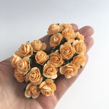 Mulberry Paper Open Roses - Autumn Gold 10mm 15mm 20mm