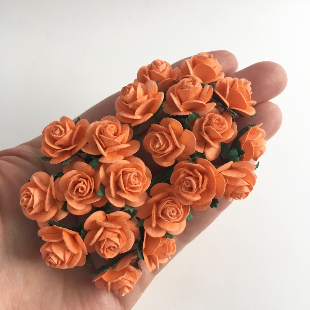 Mulberry Paper Open Roses - Orange 10mm 15mm 20mm