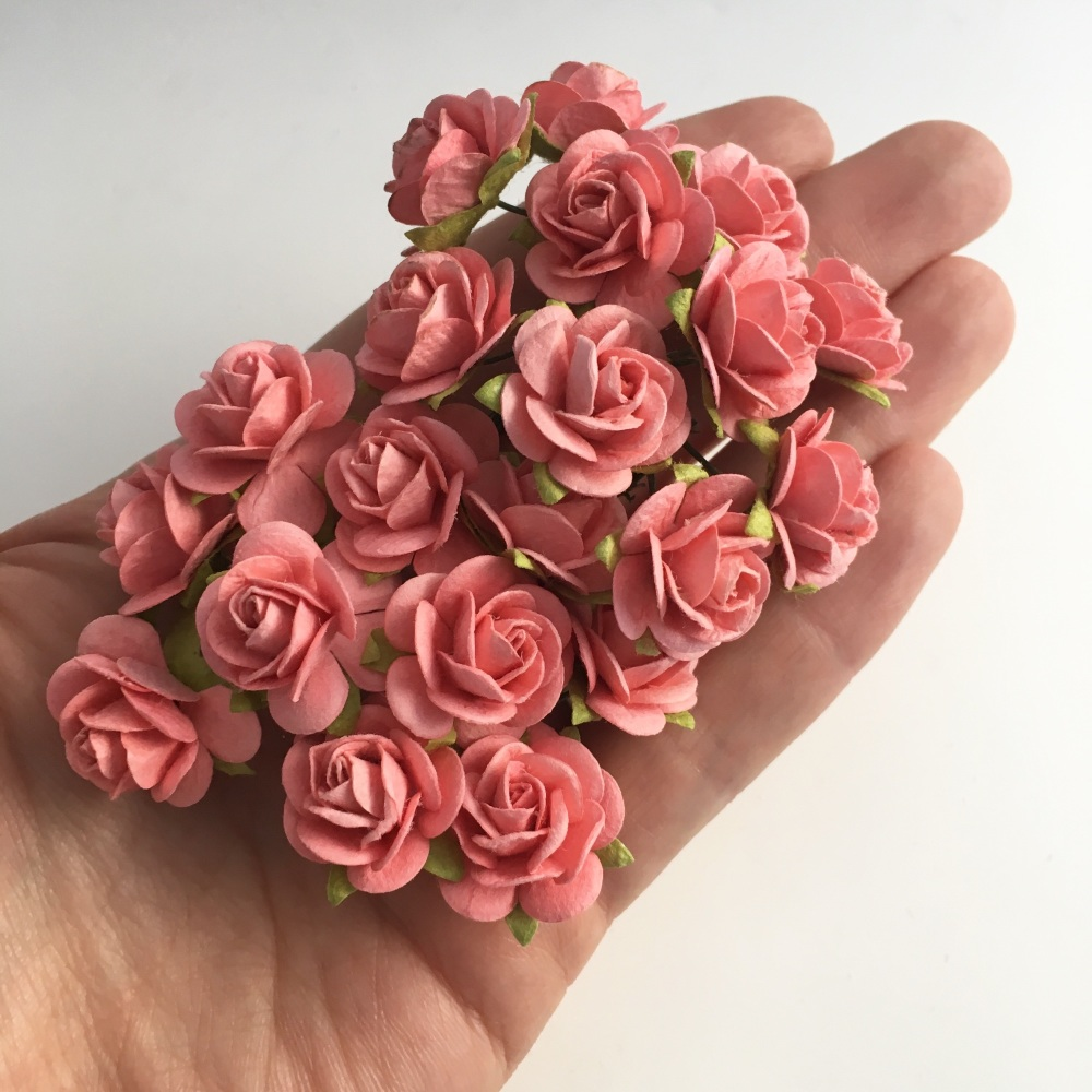 Mulberry Paper Open Roses - Coral 10mm 15mm 20mm