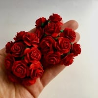 <!--013--> Mulberry Paper Open Roses - Red 10mm 15mm 20mm