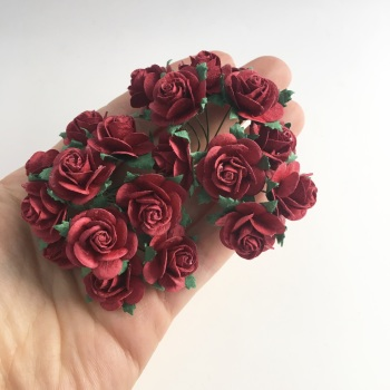 Mulberry Paper Open Roses - Deep Red 10mm 15mm 20mm