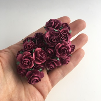 Mulberry Paper  Open Roses - Burgundy 10mm 15mm 20mm