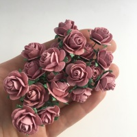 <!--019--> Mulberry Paper Open Roses - Dusky Pink 10mm 15mm 20mm
