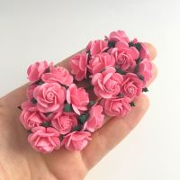 <!--020--> Mulberry Paper Open Roses - Pink 10mm 15mm 20mm