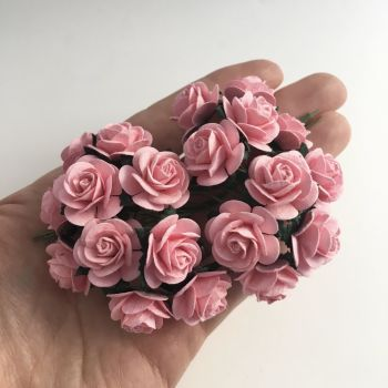Mulberry Paper Open Roses - Baby Pink 10mm 15mm 20mm