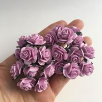 <!--025--> Mulberry Paper Open Roses - Lilac 10mm 15mm 20mm