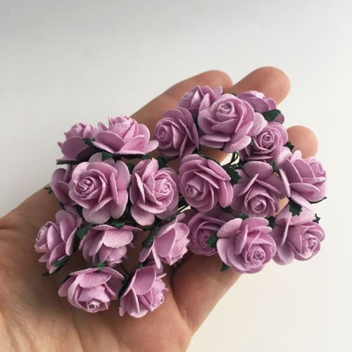 Mulberry Paper Open Roses - Lilac 10mm 15mm 20mm
