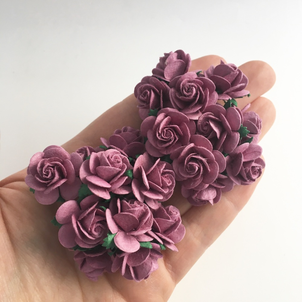 Mulberry Paper Open Roses - Dark Lilac 10mm 15mm 20mm