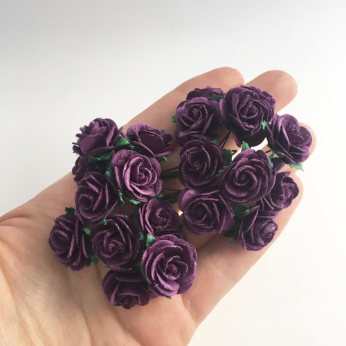 Mulberry Paper Open Roses - Purple 10mm 15mm 20mm
