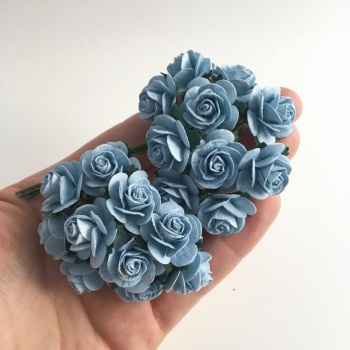 Mulberry Paper Open Roses - Baby Blue 10mm 15mm 20mm