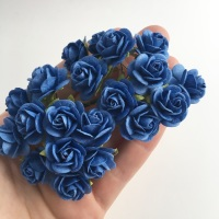 <!--029--> Mulberry Paper Open Roses - Royal Blue 10mm 15mm 20mm
